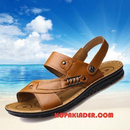 Herr Sandaler På Rea 2018 Äkta Läder Stranden Tofflor Trend Brun