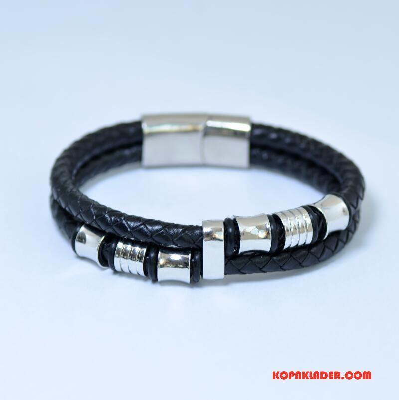 Herr Silver Smycken Billigt Europa Accessoar Armband Läder Interlace Svart
