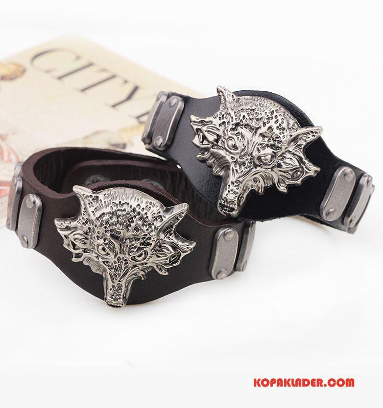 Herr Silver Smycken Billigt Personlighet Armband Rivet Män Mode Svart