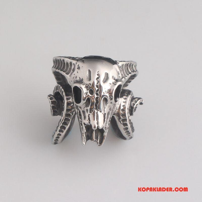 Herr Silver Smycken Billigt Retro Män Bra Försäljning Skalle Guld Silver