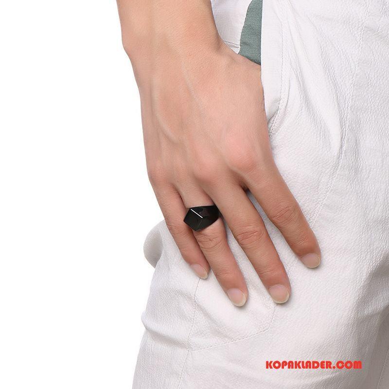 Herr Silver Smycken Butik Diamantform Accessoar Populär Enkel Män Svart