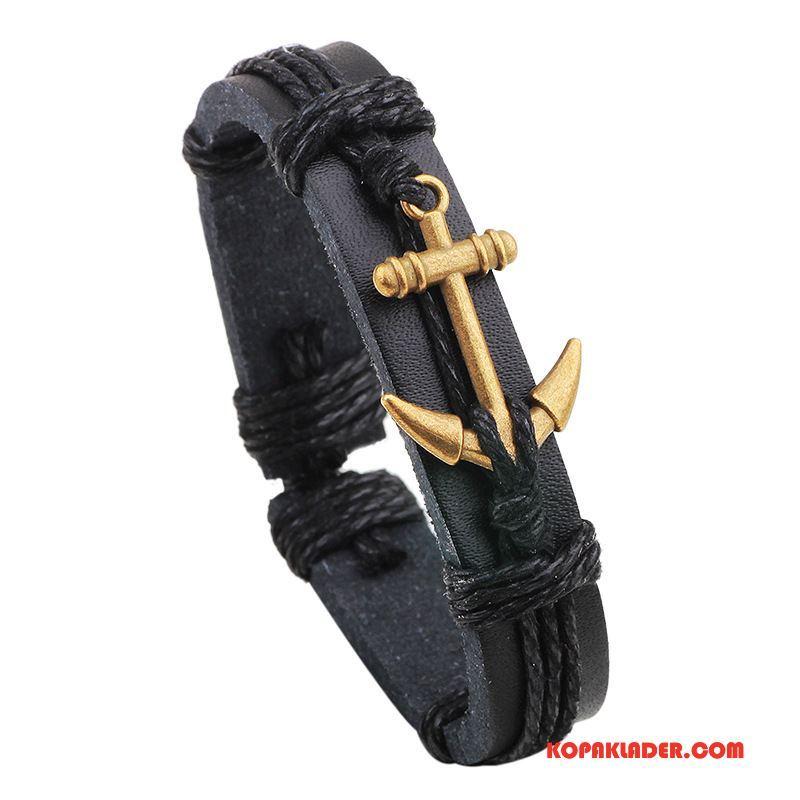 Herr Silver Smycken Köpa Läder Äkta Läder Armband Accessoar Guld Svart
