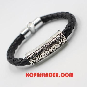 Herr Silver Smycken Till Salu Äkta Läder Interlace Retro Armband Par Svart
