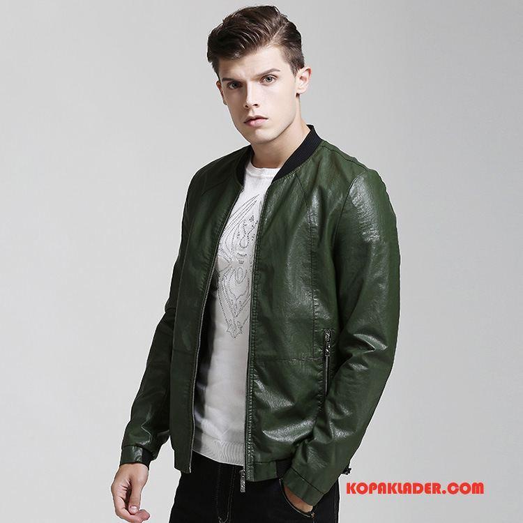 Herr Skinnjackor Billig Slim Fit Män Casual Mode Skinnjacka Army Grön