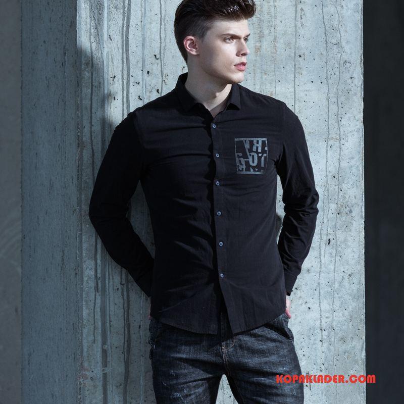 Herr Skjorta Billigt Tiger Tryck Trend Varumärke Bomull Män Svart