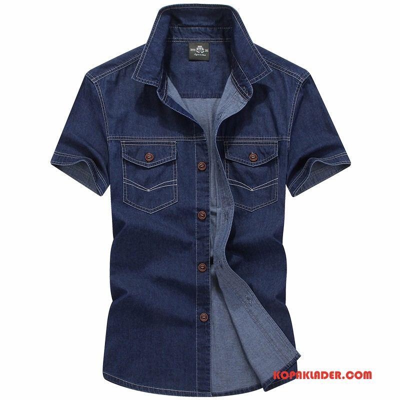 Herr Skjorta Rea Denim Män Kortärmad Skjorta Trend Bomull Mörkblå