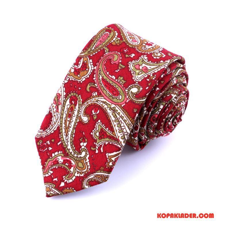 Herr Slipsar Billigt 6cm Casual Etnisk Bomull Smal Röd