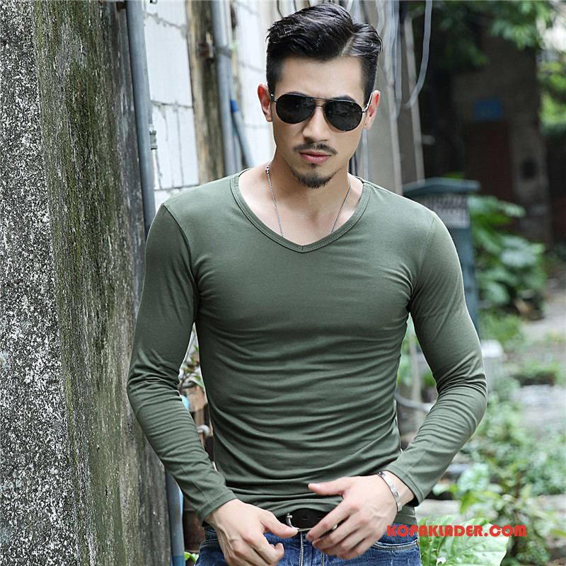 Herr T-shirts Billigt Långärmad Vår Bottenskjorta Bomull Trend Army Grön Till