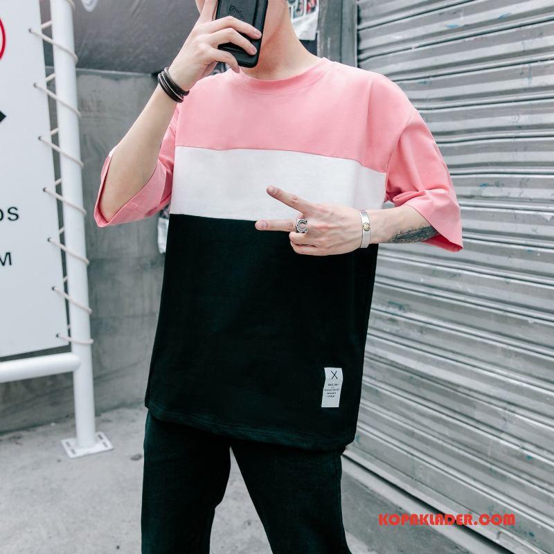 Herr T-shirts Köpa Trend Ärm Grön Mode Rosa Röd
