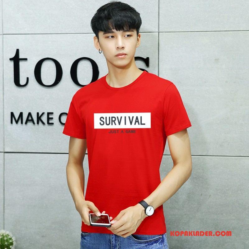 Herr T-shirts Köpa Trend Konst Liten Student Kortärmad Röd