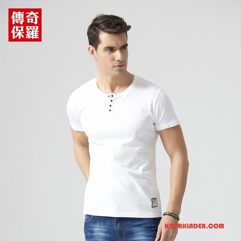 Herr T-shirts Online Kortärmad Trend 2018 Sommar Män Vit