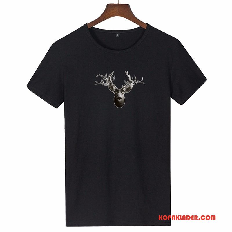 Herr T-shirts Online Ny Trend Hjortdjur Kortärmad Svart