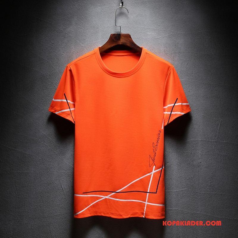Herr T-shirts Till Salu Sommar Lösa Trend Kortärmad Toppar Orange Orange