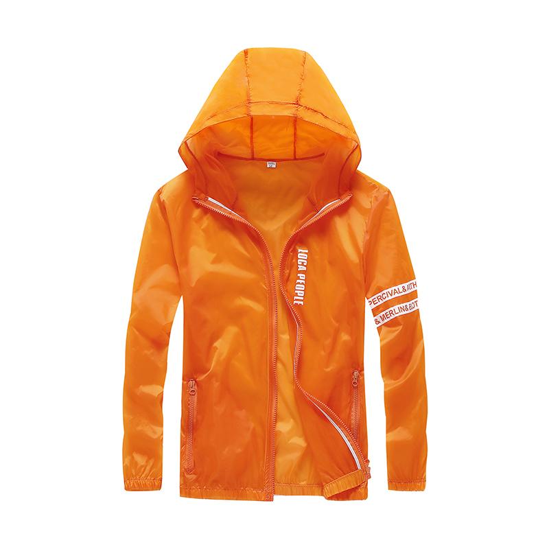 Herr Trenchcoat Billig Läder Solskyddskläder Orange