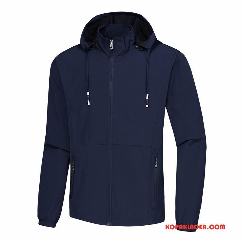 Herr Trenchcoat Köpa Jacka Kinesisk Drake Slim Fit Mode Med Huva Mörkblå