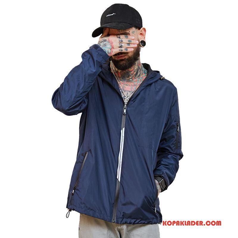 Herr Trenchcoat Köpa Män Trend Varumärke Höst Hög Mode Mörkblå